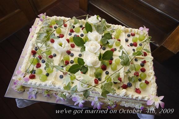 【スクエア1段】シンプルなウエディングケーキ【お手頃価格】